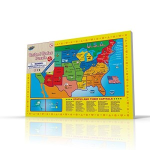 USA Map Puzzle for Toddlers, 17 Pc Large Size US States with Cute Pictures on it, Ideal for Boys/Girls with 3+ Years of Age, Smart Learning and Development Jigsaw Puzzle Toy/Game, Great Gift Idea.