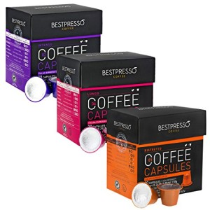 Bestpresso Nespresso Compatible Gourmet Coffee Capsules - Nespresso Pods Alternative - Natural Espresso Flavors