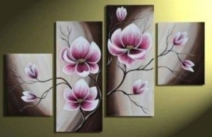 Hand-painted Wood Framed Beautiful Purple Flower High Q. Home Decoration Modern Landscape Oil Painting on Canvas 4pcs/set Mixorde Ready to Hang