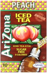 AriZona Peach Iced Tea Iced Tea Stix Sugar Free, 0.8-Ounce Boxes (Pack of 6)