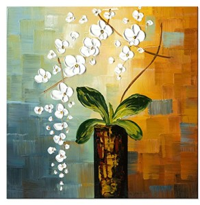 Wieco Art - Beauty of Life 100% Hand-painted Modern Flower Artwork Abstract Floral Oil Paintings on Canvas Wall Art for Home Decorations Wall Decor 24 by 24 inch FL1066-1