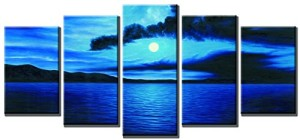 Wieco Art - Dark Blue Ocean White Sun Modern 5 Panels Giclee Canvas Prints Contemporary Seascape Artwork Pictures Paintings on Canvas Wall Art for Living Room Bedroom Home Decorations