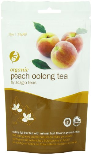 Adagio Teas Organic Tea Bags, Peach Oolong, 10 Count