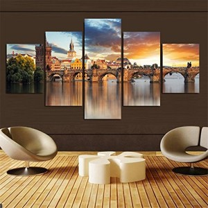 5 Piece Home Decor Beautiful Castle Printed on Canvas Oil Painting Wall Art Picture For Living Room
