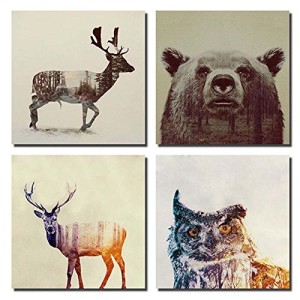 Gardenia - Animal Double-exposure Photography Canvas Wall Art Prints 12 x 12 Inch Stretched and Framed Modern Decor Paintings Giclee Artwork for Living Room and Bedroom Decoration Beer Sika Deer & Owl