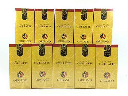 10 boxes Organo Gold Gourmet Cafe Latte + 10 sachets Organo Gold Organic Green Tea