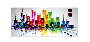 Santin Art-Colorful City-Modern Abstract Oil Painting Wall Art Decorations on Canvas Home Decor CitySpace Color City