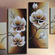100% Hand-painted Wood Framed Oil Wall Art Warm Day Yellow Flowers Bloom Home Decoration Abstract Floral Oil Painting on Canvas 4pcs/set Mixorde