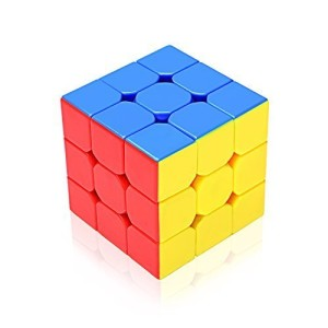 EnacFire Speed Cube 3x3 Plastic Stickerless Cube Puzzle [Never-Pop] Smoother Quicker and More Precisely Turning Than Original,Lifetime 100% Refund Guaranteed