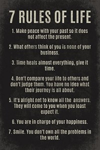 7 Rules Of Life, motivational poster print