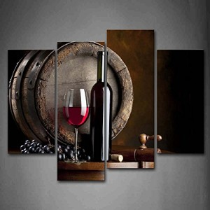 Wine And Fruit With Glass And Barrel Wall Art Painting Pictures Print On Canvas Food The Picture For Home Modern Decoration