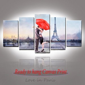 Valentine's Gift Honest Canvas Prints Love in Paris 5 Panels Huge Size Oil Painting Print Wall Decor Art, Stretched and Framed Ready to Hang for Home Decoration-P5LA005