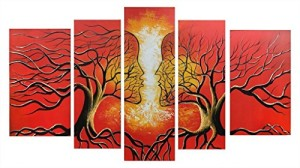 VASTING ART 5-Panel 100% Hand-Painted Oil Paintings Landscape Human Face Kiss Trees Couple Modern Abstract Artwork Stretched Wood Framed Ready Hang Home Decoration Wall Decor Living Room Bedroom Red