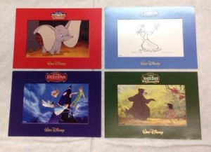 "Set of 4- Disney Lithographs 5""x7"" Jungle Book Dumbo Cinderella Peter Pan NEW"