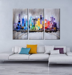 "ARTLAND Modern 100% Hand Painted Framed Wall Art ""Colorful City"" 3-Piece Gallery-Wrapped Abstract Oil Painting on Canvas Ready to Hang for Living Room for Wall Decor Home Decoration 24x36inches"