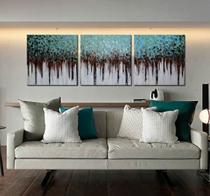 """ARTLAND 100% Hand Painted Unframed Wall Art """"Blue Forest"""" 3-Piece Modern Abstract Oil Painting on Canvas for Living Room Artwork for Wall Decor Home Decoration 20x60inches"""