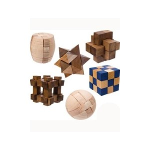 ToySmith Mini Wood Puzzle (Individual Puzzle, Colors and Styles May Vary) Brain Teaser