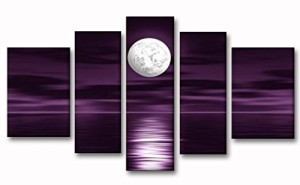 Unixtyle 100% Hand Painted Oil Painting on Canvas Purple Skyline Sea White Full Moon Night Wood Framed Landscape Wall Art Painting Abstract Home Decoration Free Shipping 5 Pcs/set