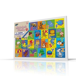 Alphabet Puzzle for Toddlers, 26 Pc Large Size Alphabets with Cute Pictures on it, Ideal for Boys/Girls with 3+ Years of Age, Smart Learning and Development Jigsaw Puzzle Toy/Game, Great Gift Idea.
