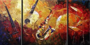 Santin Art-Joni Jazz Modern Canvas Art Wall Decor Abstract Oil Painting Wall Art Decorations on Canvas Home Decor