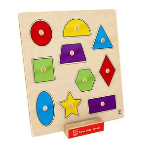 Hape - Geometric Shapes Wooden Knob Puzzle