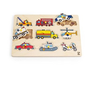 Hape - Emergency Vehicles Wooden Peg Puzzle