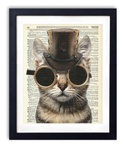 Steampunk Cat Upcycled Vintage Dictionary Art Print 8x10