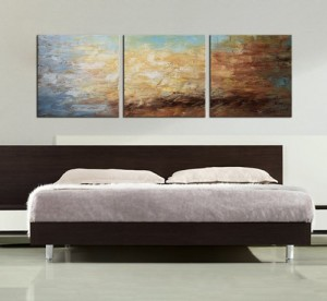 "ARTLAND Modern 100% Hand Painted Framed Abstract Oil Painting ""Peaceful Lake"" 3-Piece Gallery-Wrapped Wall Art on Canvas Ready to Hang for Living Roomfor Wall Decor Home Decoration 20x60inches"