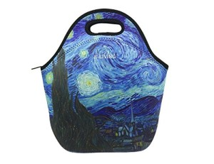 E-Living Neoprene Lunch Tote Bag - 3 Designs with Van Gogh/ Monet Oil Painting Masterpieces (Almond Blossom / Starry Night / Water Liles) (Starry Night)