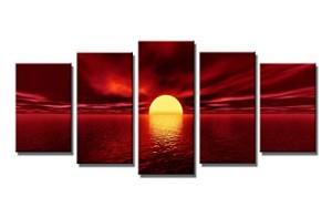 Wieco Art Modern Giclee Canvas Prints Sea Beach Artwork Red Sun Photo Canvas Wall Art for Décor