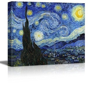 "Wall26® Starry Night by Vincent Van Gogh - Canvas Wall Art Modern Home Decor Bedroom and Living Room Decorations Oil Painting Reproduction | Stretched and Wrapped Giclee Prints Ready to Hang - 16"" x 20"""
