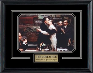 The Godfather Movie. Marlon Brando as Don Vito Corleone. Professionally Framed in the Black Modern Real Wood Frame (15 x 12)