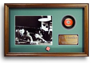 The Hustler. Billiard Movie Memorabilia. Game Room Decoration. Photo, Plate, Real Pool Ball. Professionally Framed in Custom Made Shadow Box Real Wood Frame (21.25 x 13.25)