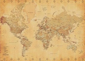 Generic Vintage World Map Maps Giant Poster Print, 55x39 College Giant Poster Print, 55x39