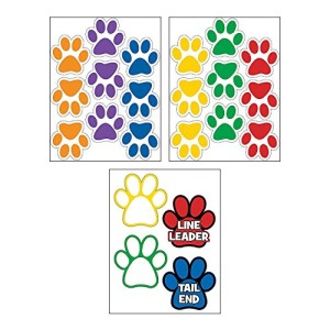 "Classroom Paw-shaped Floor Clings (22 Piece Pack) 8 1/4"" x 8 1/4"""