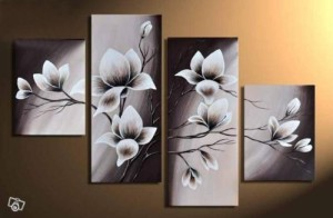 Wieco Art - Elegant Blooming Flowers 4 panels Modern 100% Hand-painted Floral Oil Paintings Artwork on Canvas Wall Art Set for Home Decor