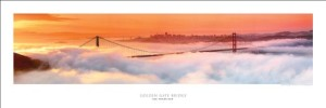 Award Winning Panoramic Art Print Poster #2- San Francisco Golden Gate Bridge At Dawn (Panorama Photograph)