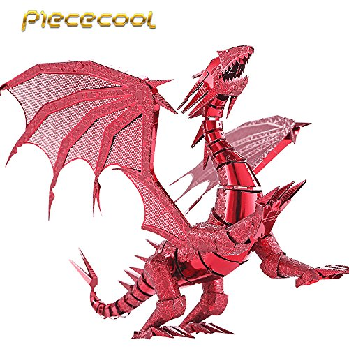 2016 Limited Edition Piececool 3D Metal Puzzle Dragon Flame P071R DIY 3D Metal Puzzle Kits Laser Cut Models Jigsaw Toys - Red