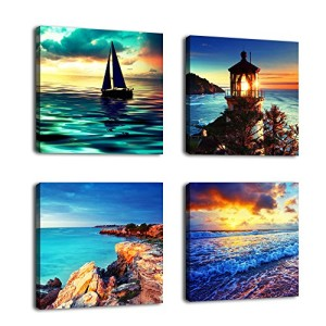 Contemporary Art Seascape Painting Canvas Prints Wall Art Decor Framed Ready to Hang - 4 Panel Modern Ocean Art Reproductions Giclee Printing - Sunset Lighthouse Coastline for Home Office Decoration