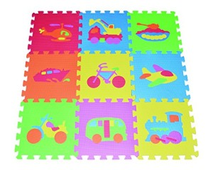 Transportation Puzzles Play Mat 9-tile EVA Foam Rainbow Floor by Poco Divo
