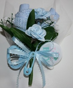 Blue Baby Sock Corsage / It's a Boy Rattle / Baby Shower