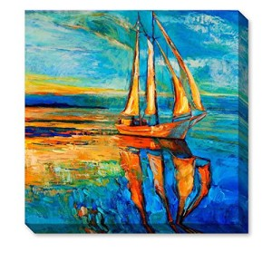 "ArtKisser Modern 100% Hand Painted Wall Art Blue Sailboat Painting Prints Landscape Oil Paintings on Canvas Framed for Living Room Ready to Hang 12""x12"""