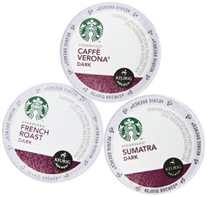 Starbucks Variety Coffee K-Cup Featuring 3 Dark Roast for Keurig Brewers - French Roast, Sumatra, Caffe Verona
