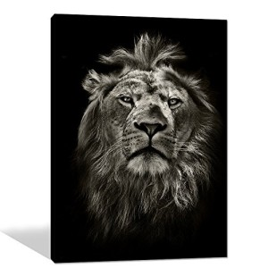 Global Artwork Printed Posters and Prints Black White Animal Lion Picture Wall Art on Canvas for Living Room Home Decor Stretched Ready to Hang (16 X 20 Inch)