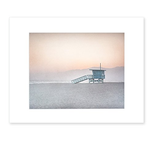 8x10 Matted Print - Pink Coral Venice Beach Wall Art, California Coastal Wall Decor Picture, 'Lifeguard Tower'