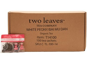 Two Leaves Tea Company Organic Bai Mu Dan White Tea, 100-Count
