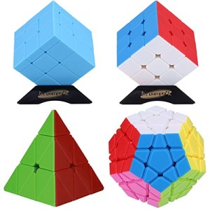 Dreampark 4-Pack Populer Stickerless Magic Cube Puzzle - Includes 3x3x3 Magic Cube, Pyraminx Pyramid Speed Cube, Megaminx Cube and Mirror Cube
