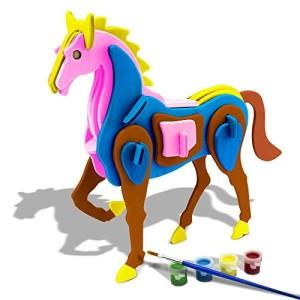 BFUN 3D Horse Puzzle Woodcraft Assemble and DIY Paint Kit