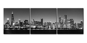 Canvas Print Wall Art Painting For Home Decor Black & White Chicago Skyline Night B&W Bw And Modern Architecture Buildings Business Cityscape Coastline 3 Pieces Panel Paintings Modern Giclee Stretched And Framed Artwork The Picture For Living Room Decoration City Pictures Photo Prints On Canvas
