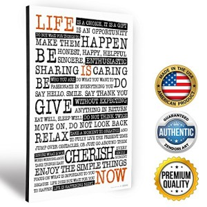 "ZENDORI WOOD ART ""Life Is NOW"" Manifesto - Wooden Art Print Decoration -Wall Quote - Made in USA - 12"" x 18"" x 3/4"""